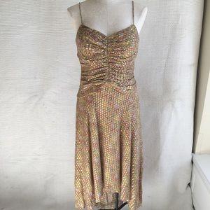 VTG 90s Golden Goddess Boho Print Cocktail Dress